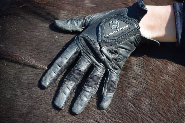 The cabretta leather that the Pro Air Show gloves are constructed of is tackified, in order to help provide maximum grip and controls of the reins. Photo by Lorraine Peachey