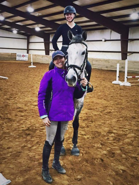 Julia Becker and Grace pose with Laine Ashker at a recent clinic in LaGrange, Kentucky. Photo courtesy of Melissa Trelfa
