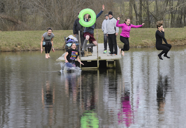How the working students at Windchase celebrate New Year's: the 4th annual Windchase Polar Dive! Photo by Phyllis Dawson.