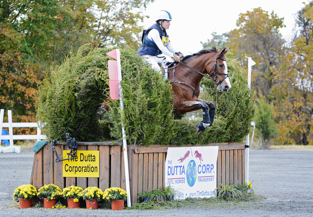 Nora Battig and Steppin' Out on their way to a 14th place finish at the Dutta Corp Fair Hill International CCI2* in 2015. Photo by Jenni Autry.