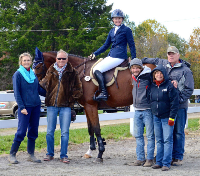 Nora and Stevie at Fair Hill 2014 with Zachary, their families and her coach, Bruce Davidson. Photo by Lisa Thomas.