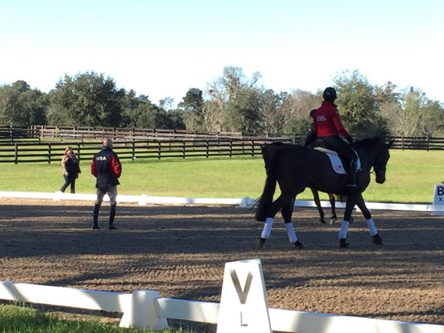 Morgan McCue and Casandra Wallskog participating in the Eventing 18 Developing Rider Training Session at Meredyth Farm and Red Trail Ridge South. Photo by Victoria McCue