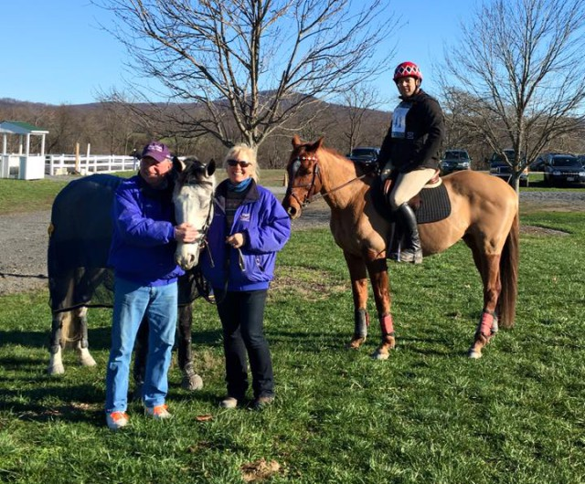 Karen and Steve Fulton and Dave Taylor at the Maryland Horse Trials Cross Derby. Photo by Carolyn Mackintosh.