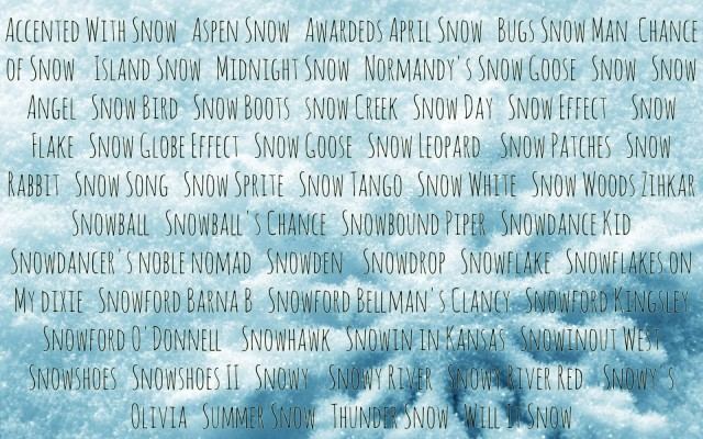 Snow-related horse names registered in the USEA Database. Compiled by Leslie Wylie.