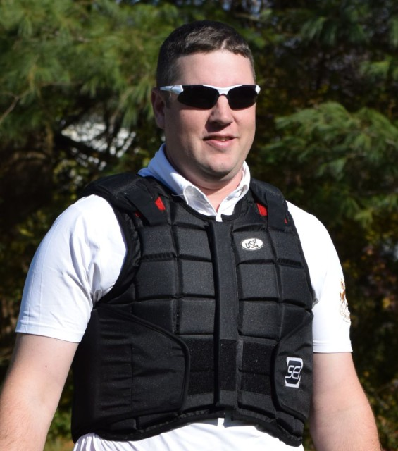 The USG Flexi-Back Body Protector Vest offers you the ability to move in your body and arms. photo by Lorraine Peachey .