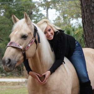 One of my very best friends and her horse Cosmo. (EN recommends wearing a helmet at all times when mounted.)