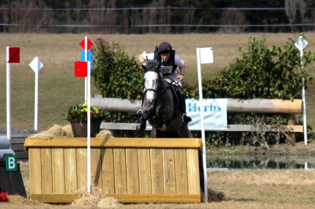 Elisa Wallace and her infamous Mustang eventer Hwin at Rocking Horse Winter II. Photo courtesy of Amy Wright.