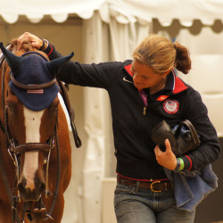 Super groom Max Corcoran and Mr. Medicott share a moment at the 2012 London Olympic Games. Photo by Erin Gilmore.