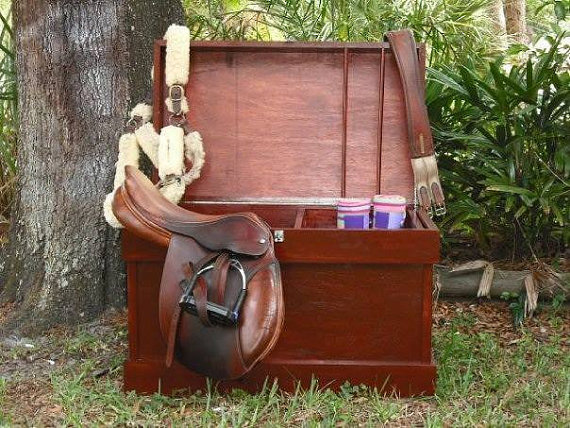 KJeqCreations sells wooden tack trunks for $350 on Etsy. Photo courtesy of KJeqCreations.