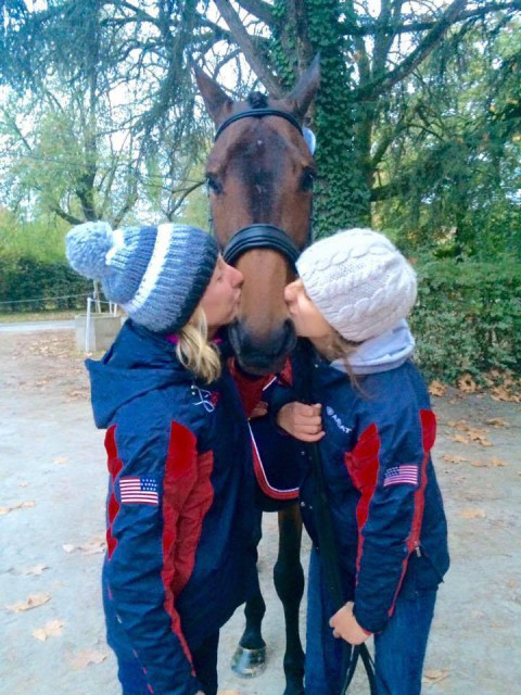 2015 top ranked ISH eventer in the world Cambalda gets the smooch treatment from Stephaine Cauffman and Erin Rose, Photo courtesy of Jennie Brannigan.