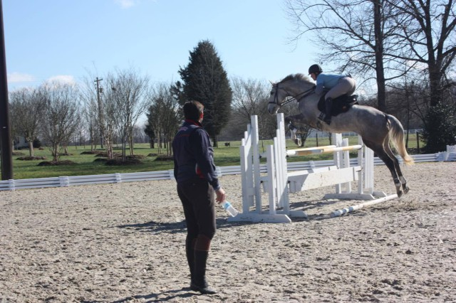 Jessica riding Bishop in a lesson with Clayton Fredericks. Photo by Mia Hughes.