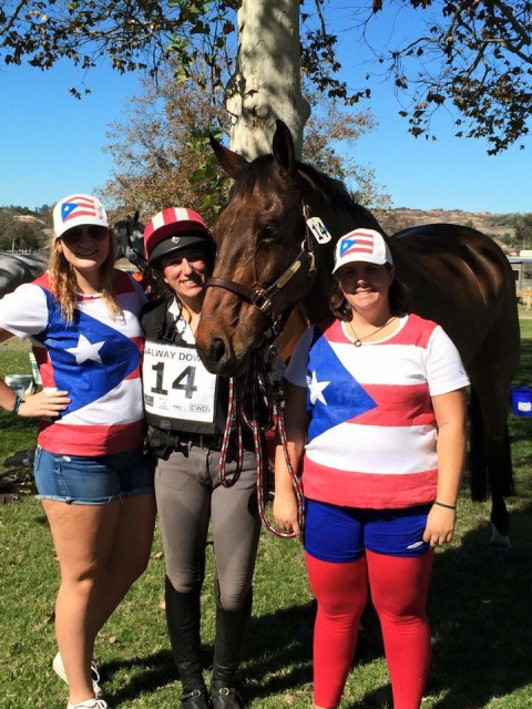 Always proud of her heritage and team, they dress to impress in Puerto Rico! Lauren after a clear XC in the CCI 3* at Galway Downs. Photo from Taylor Arnett's FB page.