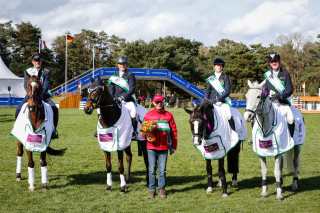 The victorious German team at Fontainebleau. From left, Michael JUNG (GER). LA BIOSTHETIQUE - SAM FBW Sandra AUFFARTH (GER). OPGUN LOUVO Jorg KURBEL (GER). BROOKFIELD DE BOUNCER Andreas OSTHOLT (GER). SO IS ET Pic Eric Knoll