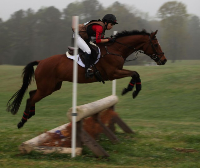 Emily Cox and FR's Check It Out Now tackling the Training Cross Country course. Photo Courtesy of Bethany Beres.