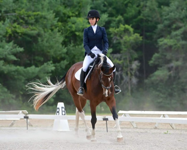 First time ever at a show or in a dressage ring! Photo by Ian Woodley.
