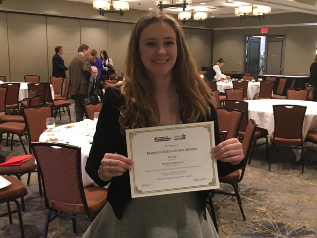 Earlier this month McKenna won a Society of Professional Journalists award for the category of General Assignment News. Photo courtesy of McKenna Oxenden.