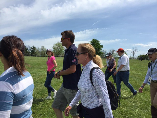 Boyd out walking the course with fans. Photo from Taren Hoffos' Facebook page