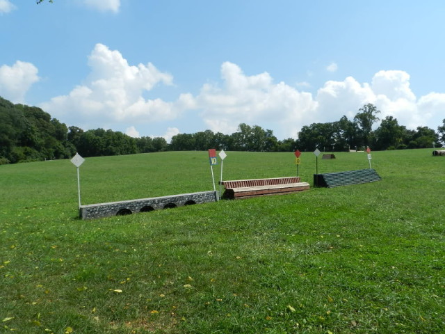 Three nice smaller cross country obstacles that are sturdy, have a good outline and solid base as well as being wide enough to encourage a green horse who might wiggle a bit on approach. Photo by Holly.