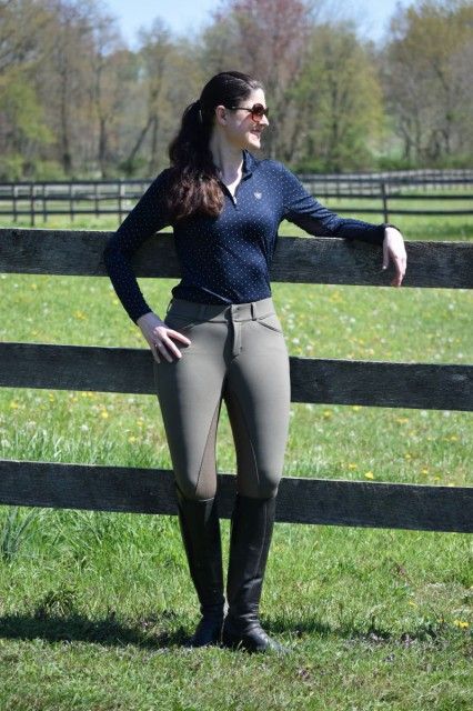I've found the fit of the Jordan breeches to look quite fabulous with my build. The breeches have a mid rise fit, and also feature two slant pockets, belt loops and a front zip closure. Photo by Lorraine Peachey.