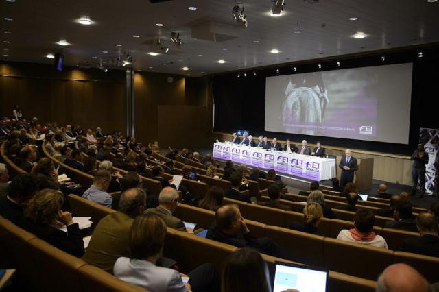A record number of delegates attended the FEI Sports Forum in Lausanne, where Olympic and World Equestrian Games competition changes were debated at length today. Photo by FEI/Richard Juilliart.