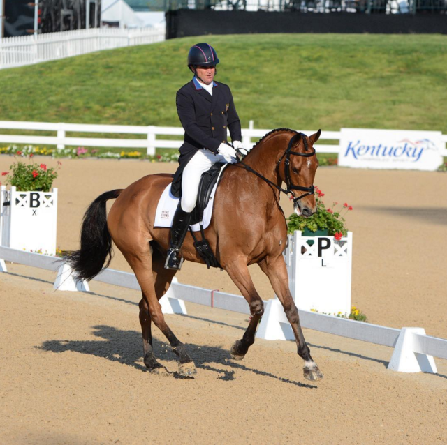 Day 1 dressage trailblazers Phillip Dutton and Fernhill Fugitive lead off with a score of 43.1. Photo by Jenni Autry.