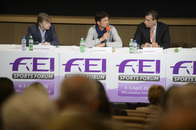 Olympic champion Steve Guerdat, center, spoke on the panel during session three of the FEI Officials' appointment and remuneration at the FEI Sports Forum in Lausanne, with Wayne Channon and fellow panelist Cesar Hirsch. Photo by FEI/Richard Juilliart.