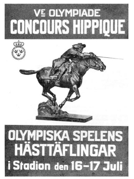 Swedish Poster Advertising Olympic Eventing. IOC Report / Public Domain
