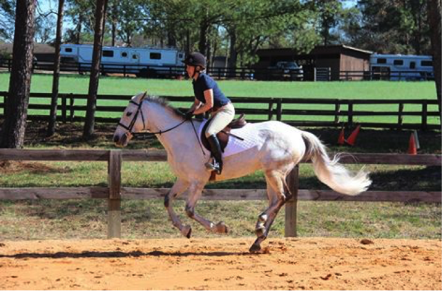 Much better. (This is not me). Heel down, foot forward, balanced over her stable lower leg. Photo courtesy of May Emerson.