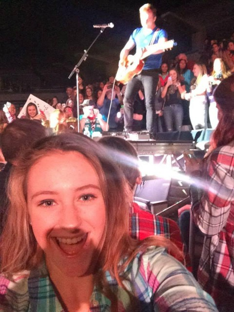 McKenna selfie at a 2014 concert in Milwaukee, Wisconsin where he opened for Dan + Shay, another band I do not know. Photo courtesy of McKenna Oxenden.