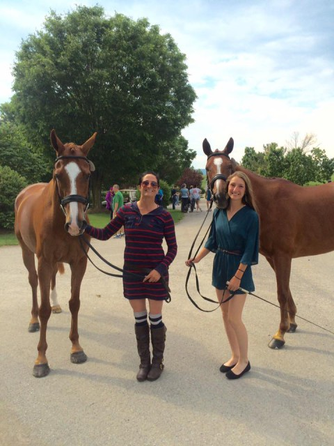 Jennie Brannigan with Twighlightslastgleam and Alexa Lapp with Paprika, both homebreds of Tim and Nina Gardner. Photo courtesy of Jennie.