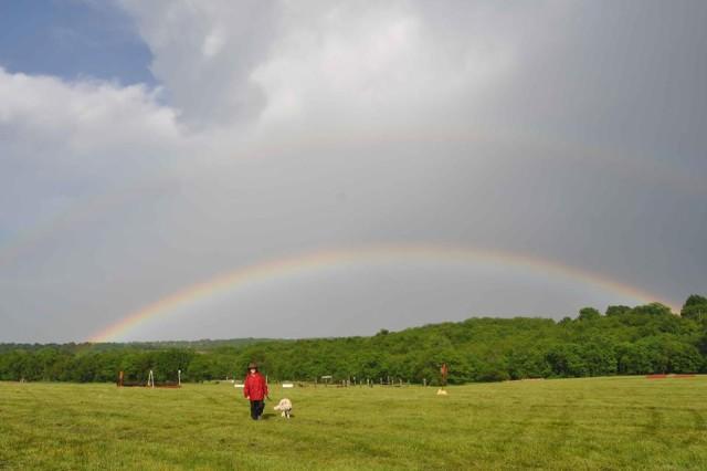 A rainbow shines over Longview Horse Park in Kansas City, Mo. Photo via the Mill Creek Pony Club on Facebook.