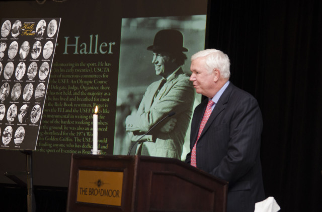 Roger Haller at the 2012 USEA Hall of Fame Induction Ceremony. Photo by USEA/Leslie Threlkeld.