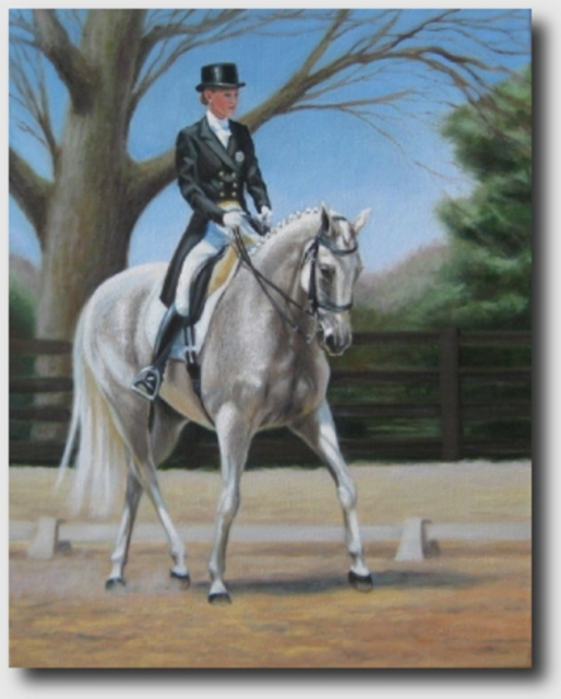 """Warm Up at Rolex,"" inspired by Blair King and King's Whisper at Rolex 2008.  Courtesy of Joan Porter Jannaman."