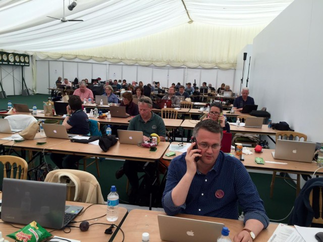Badminton's bustling media center. Photo by Leslie Wylie.