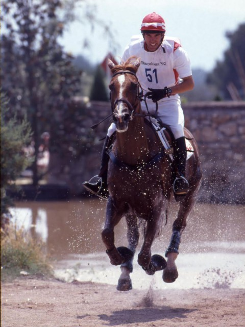 Rob Stevenson and Risky Business II representing Canada in the 1992 Barcelona Olympic Games. Photo by Elizabeth Furth.