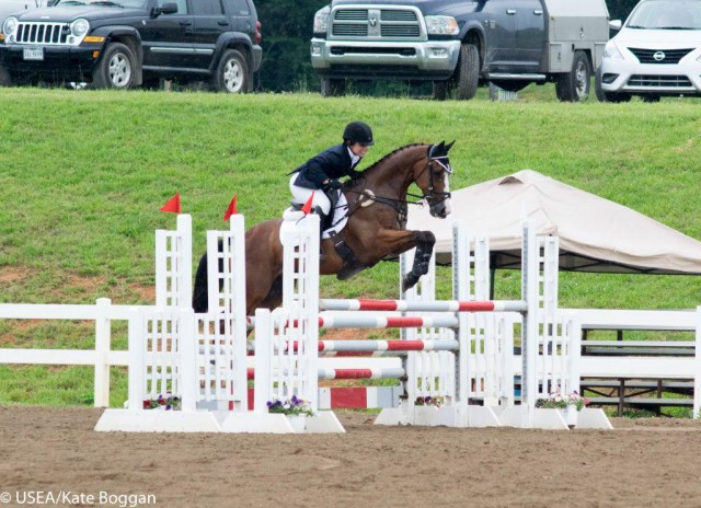 Alex Peterson and Willie Wiggins riding in the CCI* for Clemson University. USEA/Kate Boggan Photo