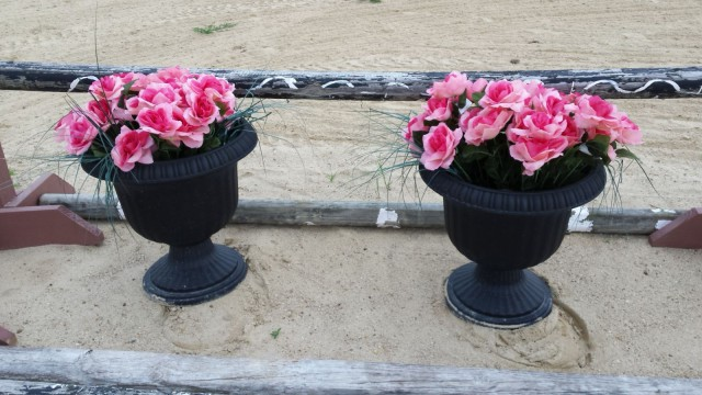 These large urns filled with fake flowers are great to use
