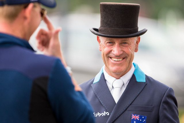 Andrew Hoy all smiles after his leading CIC3* test with Cheeky Calimbo. Photo by Thomas Ix.