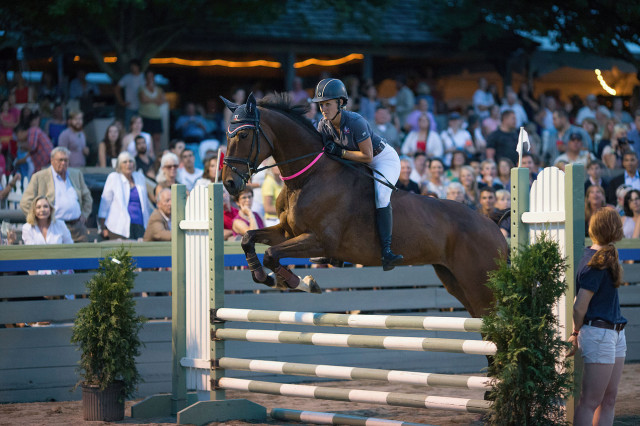 Justine Dutton and Jollybo at the bareback puissance during the 2014 WEG Prep Trial at Great Meadow.  Photo by Alec Thayer/Ab3 Photography.
