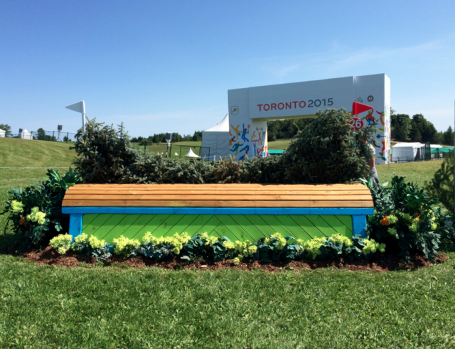 The final fence of Wayne Copping's 2015 Pan Am Games cross country course in Toronto. Photo by Jenni Autry.