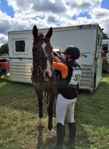 Grace and Truffle getting ready for cross country after Truffle's recovery from Potomac Horse Fever. Photo courtesy of Grace Mitchinson.
