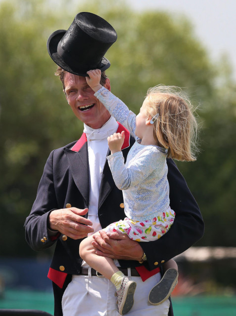 William Fox-Pitt with his daughter Chloe. He currently sits first and second in the CCI2*.  Photo by Lorraine O'Sullivan for Tattersalls.