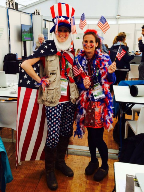 Leslie and Jenni at the 2014 World Equestrian Games in Normandy.
