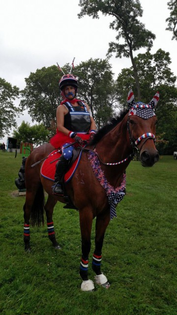 Lara Miller and her horse Naughty by Nature show off how much they love their country. Photo courtesy of Natalie Hollis.
