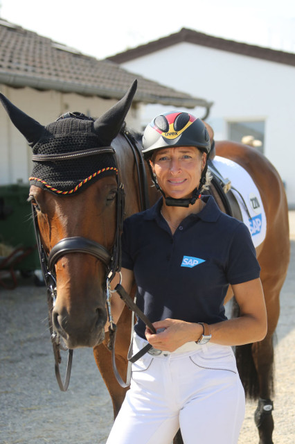 Ingrid Klimke in the stable area of the CHIO Aachen. Photo courtesy of CHIO Aachen.
