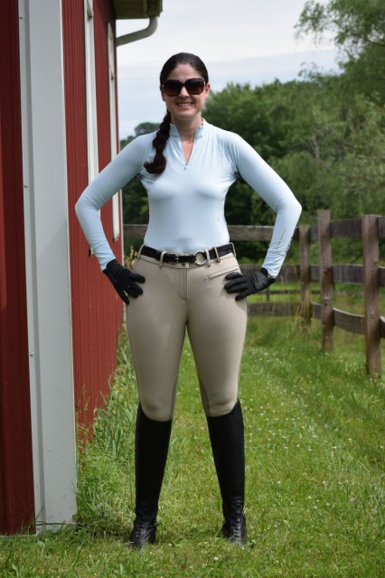 What do I really feel like when riding in the Ashley Performance Shirt paired with the Signature Breeches? Both pieces fit me comfortably, and help flatter in all of the right places. And looking great also helps me to feel more confident! Photo by Lorraine Peachey