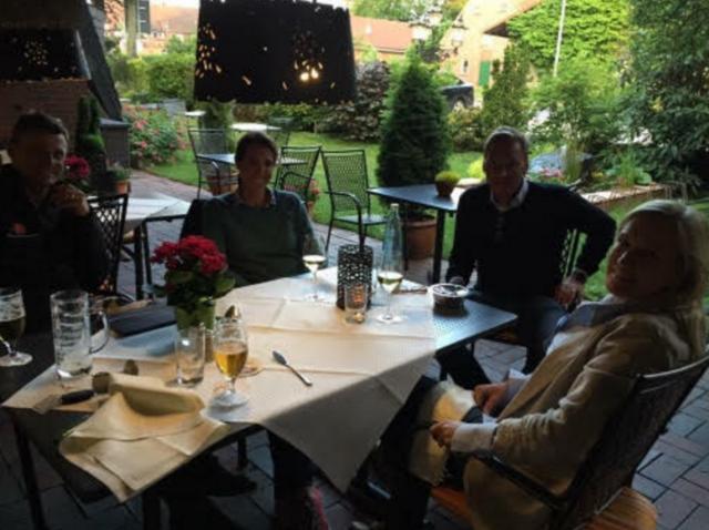 After dinner drinks w Boyd Martin, Asia, Erik Duvander, and Karen O'Connor. Photo courtesy of Asia Vedder.