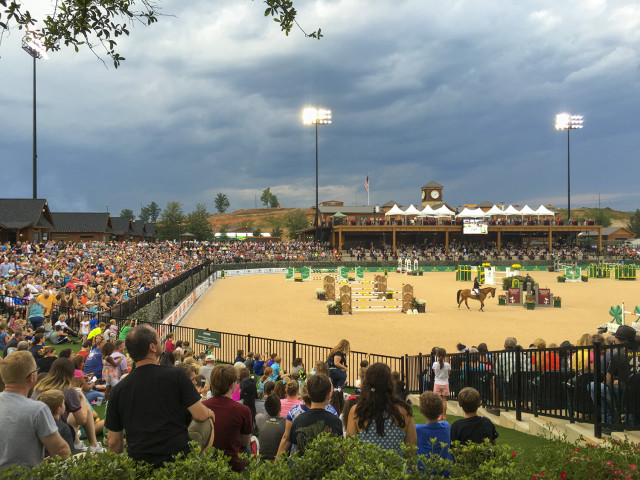 The George Morris Arena at the start of Saturday Night Lights at Tryon International Equestrian Center. Photo by Leslie Threlkeld.