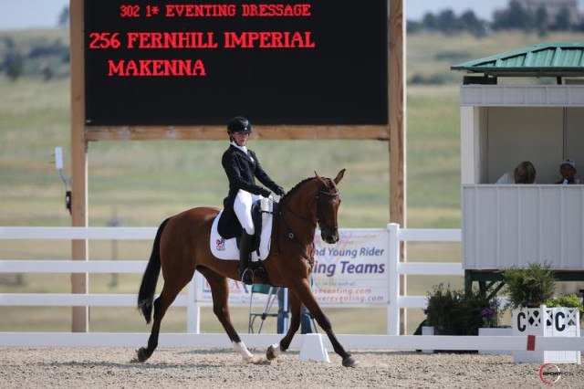 Makenna Rold and Fernhill Imperial, CH-J* dressage leaders. Photo by Sportfot.