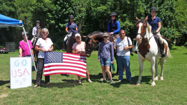 Riders at the Friends Combined Tests at Fair Hill show their support for the team. Photo courtesy of Holly Covey.